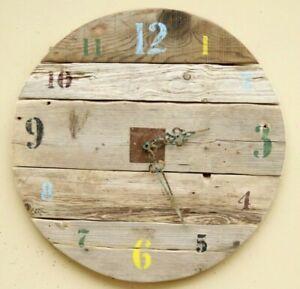 "Huge 26"" Round Handmade Rustic Driftwood Board Vintage Wall Clock Christmas gift"