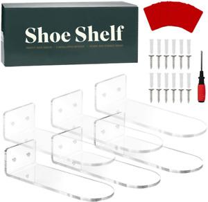 Floating Shoe Display for Wall Acrylic - Set of 6 Acrylic Shelves Wall Mounted f