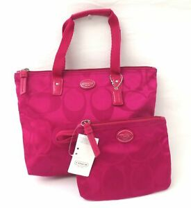 Coach Getaway Weekender Signature Fuchsia Packable Small Tote & Pouch