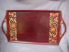 Vtg Wood Rectangle Serving Tray whandles enamel paint Flowers & Abalone shells
