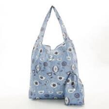 Eco Chic - Blue / Grey 50'S Flower Print - Reusable Folding Shopping Bag