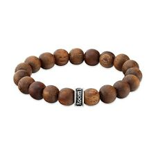 ROOM101  10MM NATURAL WOOD  STRETCH  BRACELET WITH SILVER LOGO