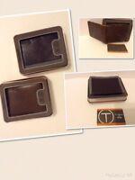 TUMI Men Billfold Bifold Slim Thin Wallet distressed Brown or Congac Leather new
