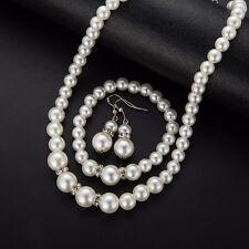 Ivory Glass Pearl Wedding Bridal Jewellery Sets Bracelet Earring Necklace