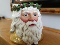 """Vintage Department """"56"""" Set of Two Large Santa Claus Candle Holders"""