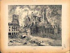 Ruines Fire Incendie de Dixmude Belgique Belgium Paul Madeline Peintre 1914 WWI
