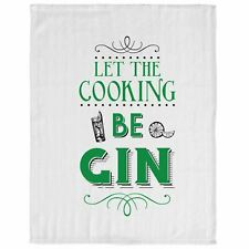 Fun Slogan Kitchen Tea Towel Dish Cloth With Hanging Loop Let The Cooking Be Gin