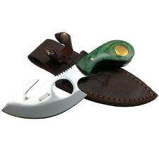 "7"" Pro Skinning Knife GREEN WOOD Handle Hunting Knives Gut Hook Skinner"