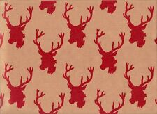 DEER CHRISTMAS GIFT WRAPPING PAPER - TWO 6 Ft Sheets