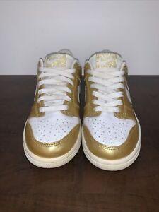 Nike Dunk Low (Metallic-Gold/White) (U.S. Size 5Y)