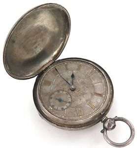 c1874 ENGLISH STERLING SILVER FUSEE MENS POCKET WATCH.