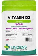 VITAMIN D3 1000IU Tablets 120 STRONG Bones Immune Supplement Lindens