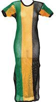 Jamaica rasta ladies dresses, mesh hip hop maxi split on sides carnival dress