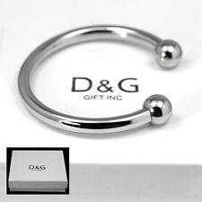 "NEW DG Gift Inc Men's Unisex Stainless Steel 7"" Round Cuff Bangle Bracelet + Box"
