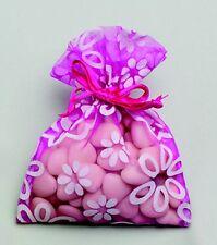Lot de 6 sacs organdi a fleurs fuschia pour dragées baptême mariage communion