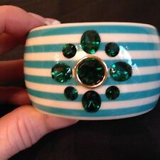 "NEW JUICY COUTURE Blue Striped Bangle Bracelet Green Rhinestone - 2"" Wide"