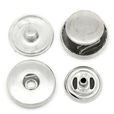 100Sets Boutons à recouvrir à pression Aluminum Moins brillant 19mm 18mm 15mm
