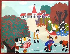 Jouvenaud huile sur toile art naïf enfants clocher paysage naïf saute mouton
