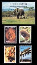 Sao Tome 1996 MNH SS + 4v, Greenpeace, lion, Elephant, Tiger, Iguana Animals