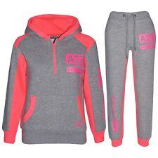 Kids Girls Jogging Suit Grey & Neon Pink Designer's Tracksuit Zipped Top Bottom