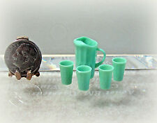 Dollhouse Miniature or Fairy Garden Jadeite Chrysnbon Pitcher & Glasses