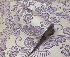 Lavender & Crème, damassé conception inspirée, Collez Le mur, Solide Vinyle Papier Peint