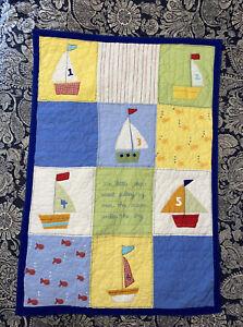"Pottery Barn Kids Nautical Gingham Patchwork Crib Quilt 36""x51"" Sailboats Fish"