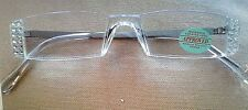 !!! CLEAR  CRYSTALS MADE with Swarovski  READING  GLASSES- SILVER  2.75 !!!