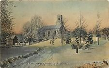 Hand-Colored Postcard; Congregational Church at Storrs Ct Tolland County Posted