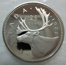 1988 CANADA 25 CENTS PROOF QUARTER HEAVY CAMEO COIN