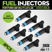 80 LB High Impedance Fuel Injectors EV1 Set (8) 110324 FI114992 New