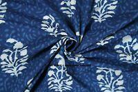 Indigo Sanganeri Hand Block Floral Print Handmade 100% Cotton Fabric 10 Yards