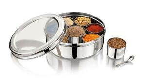 Stainless Steel Indian Spice Tin Box Deep Masala Dabba Spices Storage Dia 24cm