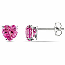 10k White Gold Created Pink Sapphire Stud Earrings