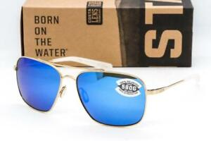 NEW COSTA DEL MAR CANAVERAL SUNGLASSES Gold frame / Blue Mirror 580G Glass lens