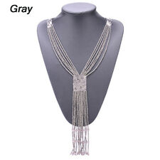 Fashion Boho Women Bead Tassel Pendant Choker Chunky Statement Charm Necklace Gray