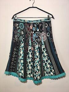 IVKO Cotton Multi Color Floral Skirt , Size:XL/42