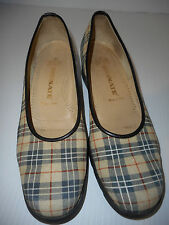 BRUNATE Plaid Nova Check Womens Casual Slip On Shoes Beige Size 38.5 - 8.5 Italy
