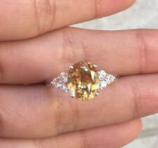 Natural Citrine Engagement Promise Ring 925 Sterling Silver