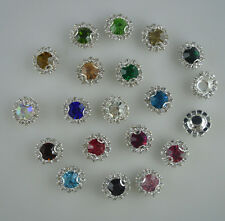 8mm glass crystal faceted round jewels around clear rhinestones silver cup sew