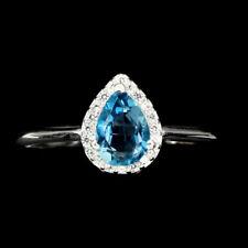 TOP TOPAZ RING : Natürliche London Blau Topas Ring Gr. 18 Sterlingsilber R342