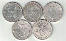 5 X GERMANY GERMAN 2 REICHSMARK .625 SILVER COINS 1934F 1936D 1937A 1938B 1939A