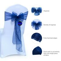 50 NAVY BLUE Organza Chair Sashes Bows For Wedding Banquet Decoration -Free Ship