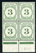 Malaya Postal Union 1952 KGVI Postage Due 3c deep green block MNH. SG D16.