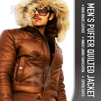 Men's PUFFER Quilted Lambskin Leather Jacket│Hooded│PUFFER│100% Genuine Leather