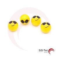 4 Stück Ventilkappen Gelb Smiley 'Sonnenbrille' für Pkw Motorrad Fahrrad