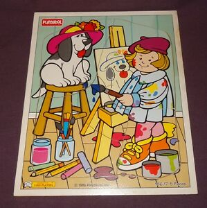 Artist Painting Dog Playskool Wooden Tray Jigsaw Puzzle 1995 5 Pc 186-17 Age 2+