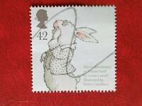 2006 GB QE11 POSTAGE STAMP 42p ANIMAL TALES ALICE IN WONDERLAND used hand cancel