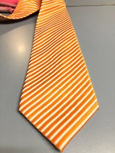 Zegna Tie Orange Stripe Silk Mens Italy