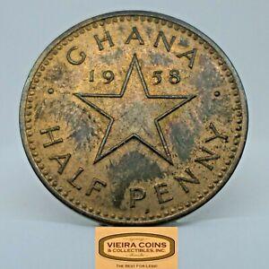 1958 Ghana 1/2 Penny Half Penny, Free Shipping  -  #C20722NQ